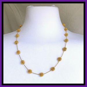 Gold Tone Pom Pom Necklace